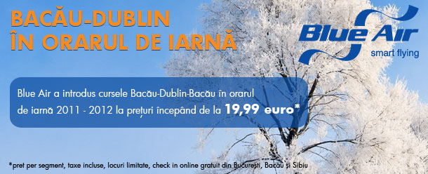 Blue Air a introdus cursa Bacau - Dublin si retur in orarul de iarna