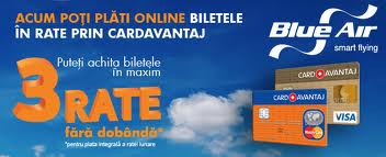Bilete Blue Air in rate, prin CardAvantaj