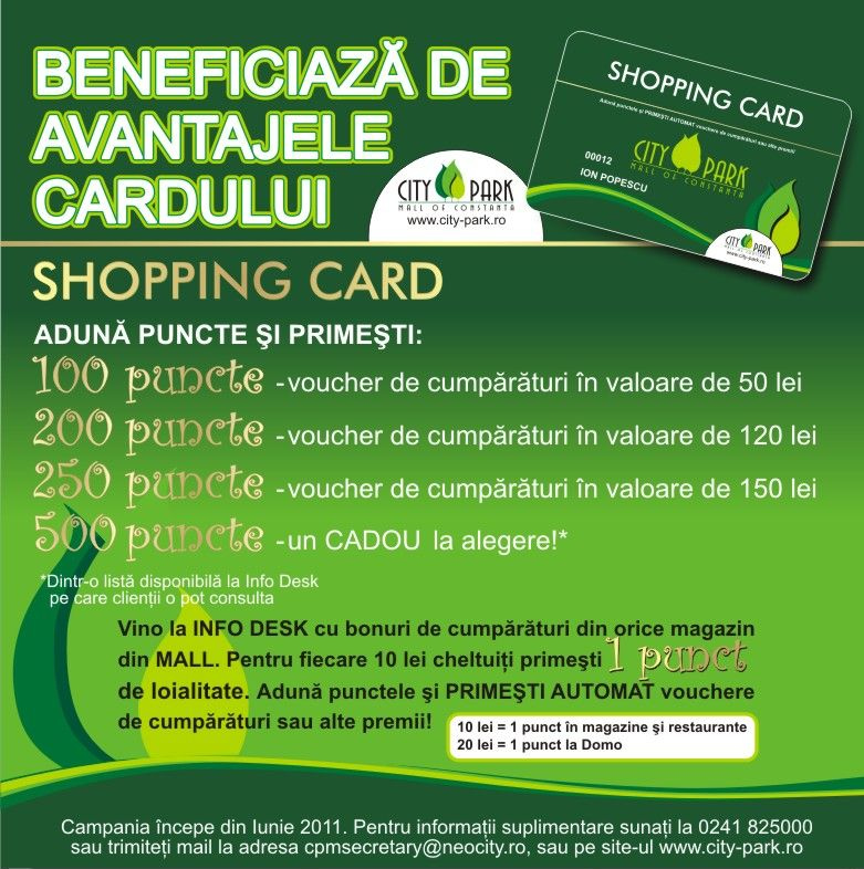 City Park Mall Constanta lanseaza Shopping Card-ul